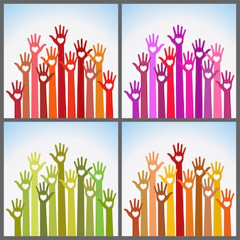 手の心を気遣うカラフルな明るい色のセットです。ボランティアが心を込めて手を差し伸べる