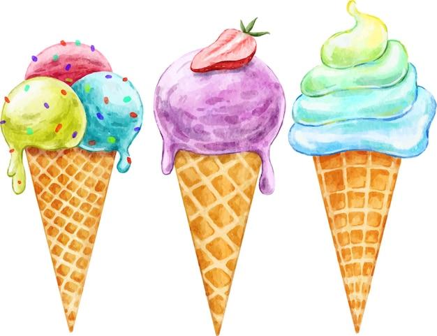Набор яркого вкусного мороженого с ягодами в вафельном рожке, нарисованный акварелью
