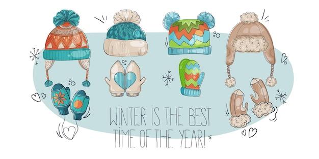 Набор ярких забавных зимних шапок и варежек оранжево-синих и бежевых тонах