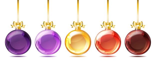 白い背景の上の明るいガラスクリスマスボールのセットです。図。