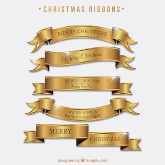 Set of bright golden ribbons of merry christmas