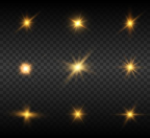 Набор ярких световых эффектов желтого цвета на прозрачном фоне вектор