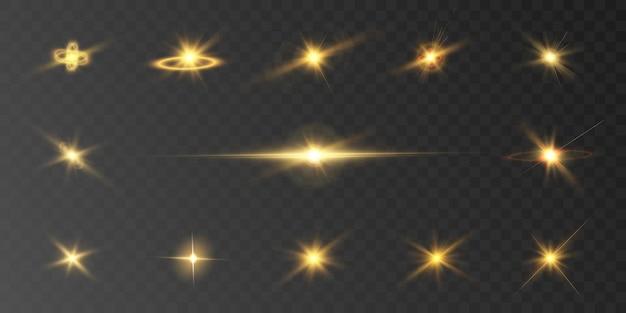 透明な背景に黄色の明るい光の効果のセットベクトル