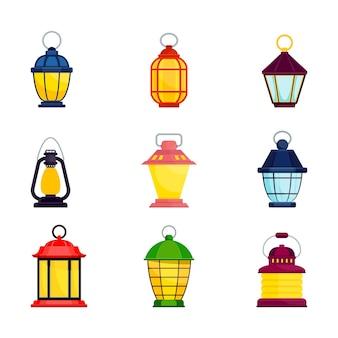 Набор ярких старомодных ручных фонариков керосиновая лампа свеча фонарь