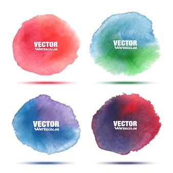 白で隔離される明るい赤緑青紫水彩ベクトル円汚れのセット