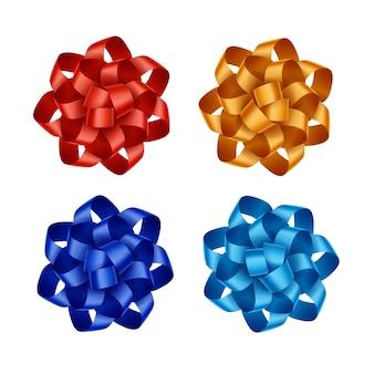 明るい赤のスカーレットオレンジブルーライトブルーアズールギフトリボン弓のセットが白い背景にクローズアップ