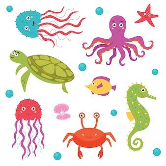 밝은 미소 바다 생물의 집합입니다. 번들 바다와 바다 동물 생물 아쿠아 동물군. 벡터 평면 고립 된 그림