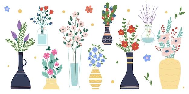 白い背景で隔離の花瓶とボトルの明るい春咲く花のセットです。花束の束。装飾的な花柄のデザイン要素のセットです。漫画フラットベクトルイラスト。