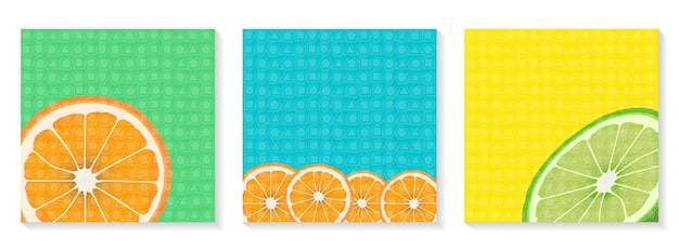 明るい正方形のバナーのセットこんにちは夏オレンジとライムのスライス投稿用テンプレート