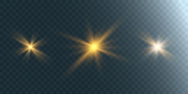 透明な背景に明るい星のセット