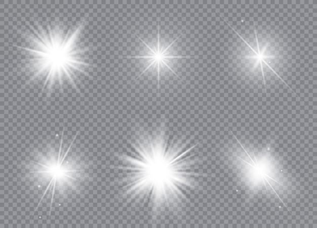 밝은 별의 집합입니다. 햇빛 반투명 특수 디자인 조명 효과.