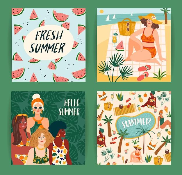 귀여운 여자와 밝은 여름 삽화의 집합입니다. 카드