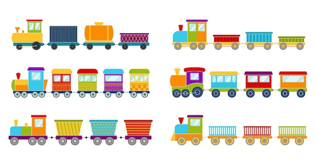 明るいおもちゃの列車のセット、ベクトルイラスト