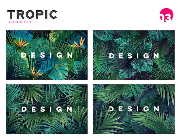 Набор ярких тропических фон с экзотическим рисунком растений джунглей с тропическими листьями