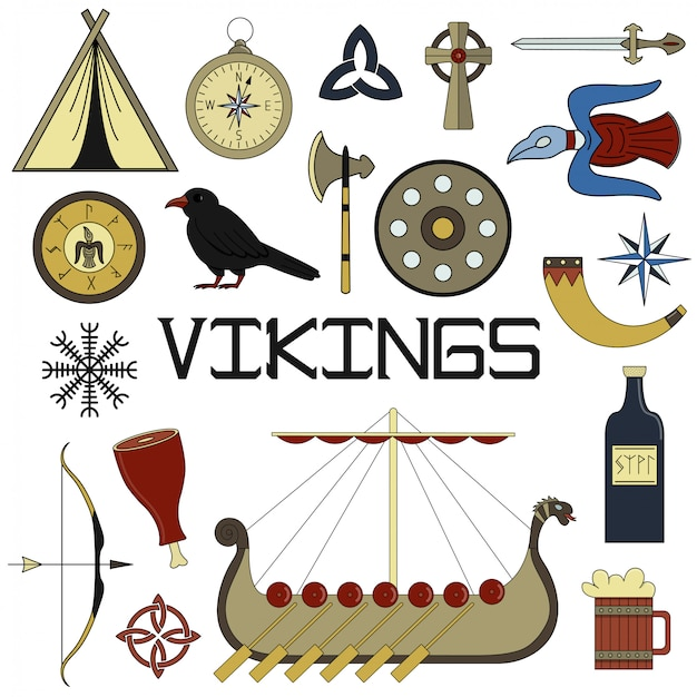 Набор ярких векторных иллюстраций для дизайна жизни викингов.