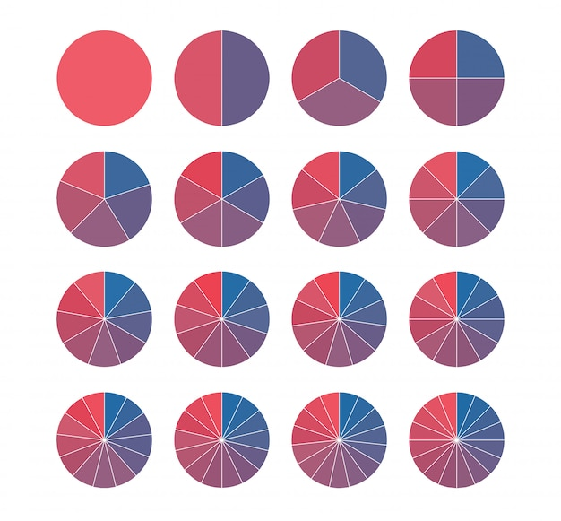 鮮やかな色の円グラフのセット。分数数学。