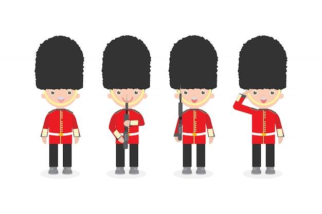 武器、女王の衛兵、イギリス軍の兵士、分離されたフラットな漫画キャラクターデザインのイギリスの兵士のセット
