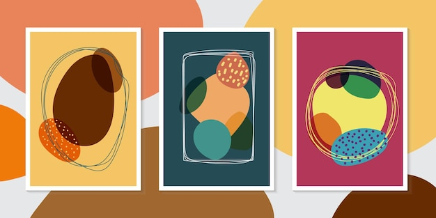Набор шаблонов брошюры рисованной органических форм и линий минимальный модный стиль фона. векторная иллюстрация