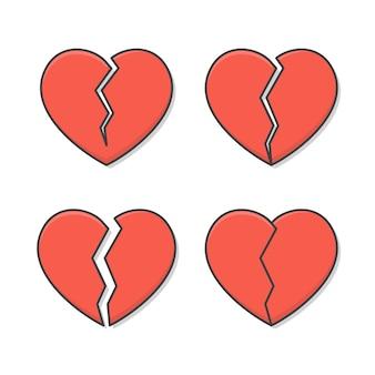 흰색 절연 깨진 심장의 집합