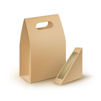 Набор коричневого пустого картона, прямоугольник, треугольник, убрать, ручка, ланч-боксы, упаковка для бутербродов, еды, подарков, других продуктов с пластиковым окном, макет крупным планом, изолированные