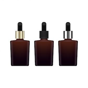 エッセンシャルオイル用の茶色のガラス密閉ボトルのセット。異なるキャップ。化粧品ボトルや医療用ボトル、フラスコ、ボトルのイラスト