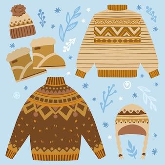 茶色の冬服のセット