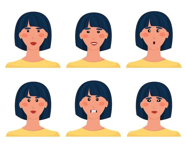 Набор аватаров брюнетки с разными выражениями лица. милый мультфильм женский персонаж. улыбка, разочарование, удивление, слезы, злость, грусть. векторная иллюстрация, изолированные на белом фоне, квартира