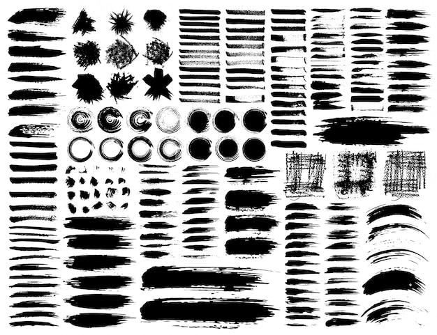 Набор мазков, черные чернила гранж мазки. векторная иллюстрация