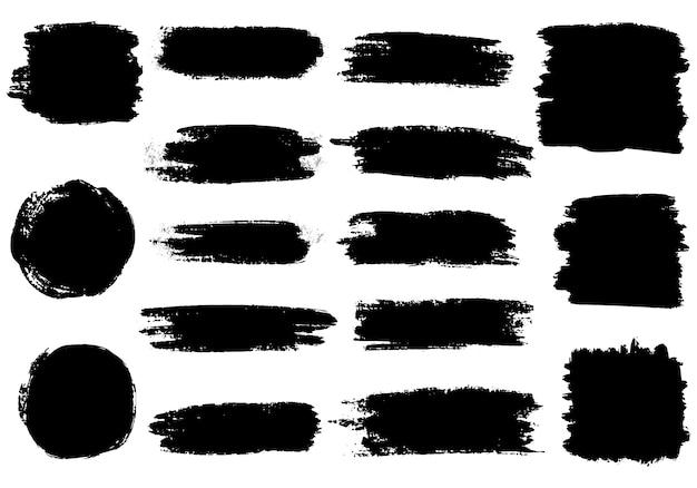 ブラシストロークのセット。ブラシ手描きグラフィック要素のコレクション。グランジ背景。 Premiumベクター