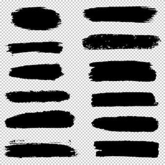 ブラシストロークのセットです。手描きのブラシグラフィック要素のコレクションです。グランジ背景。 Premiumベクター