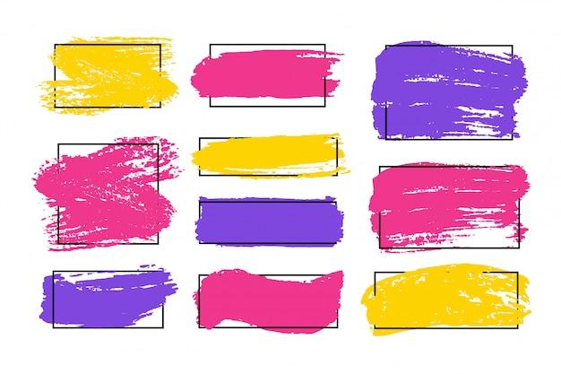 ブラシストロークのセット。グランジのデザイン要素。金色のペンキ、インク、ブラシ、ライン、汚れた。汚れた芸術的なボックス、フレーム。ゴールドラインが分離されました。抽象的なゴールドのきらびやかなテクスチャアートイラスト。