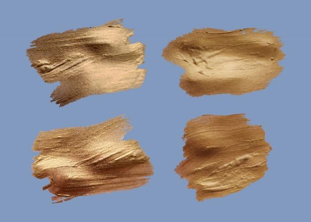 Набор мазков кистью. гранж-элементы дизайна. золотая краска, тушь, кисти, линии, шероховатый. грязные художественные коробки, рамки. золотые линии изолированы. иллюстрация искусства абстрактного золота блестящая текстурированная.