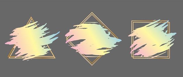 Набор мазков кисти в золотой оправе в виде треугольника, квадрата и ромба. шаблон оформления