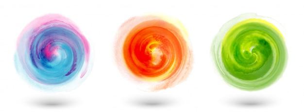 Набор мазков кисти акварель круг многоцветный смешанный