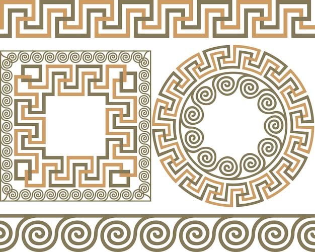 Набор кистей для создания узоров греческого меандра, круглых и квадратных рамок.