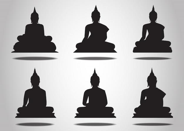 Набор силуэтов будды на белом фоне