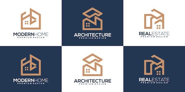 Набор шаблонов логотипа здания и дома. вдохновение дизайн логотипа недвижимости
