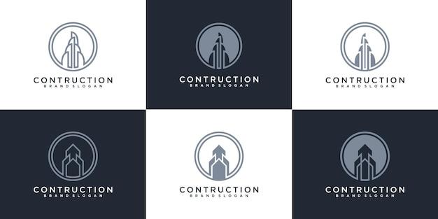 회사 프리미엄 벡터에 대 한 건물 건설 로고 디자인 영감의 집합