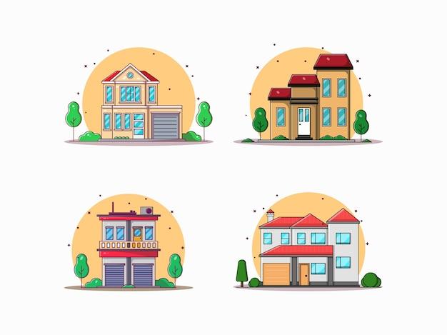 Набор здания плоский мультфильм иллюстрации