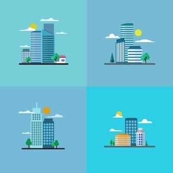 Набор строительных иллюстраций плоский дизайн