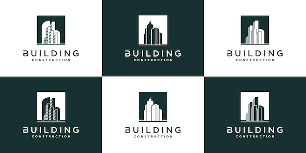 モダンなコンセプトと名刺プレミアムvektorと建物のロゴデザインコレクションのセット