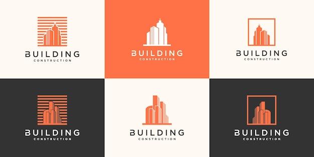 Набор шаблонов дизайна логотипа здания, современные, концепции, недвижимости и бизнес-карты. премиум вектор
