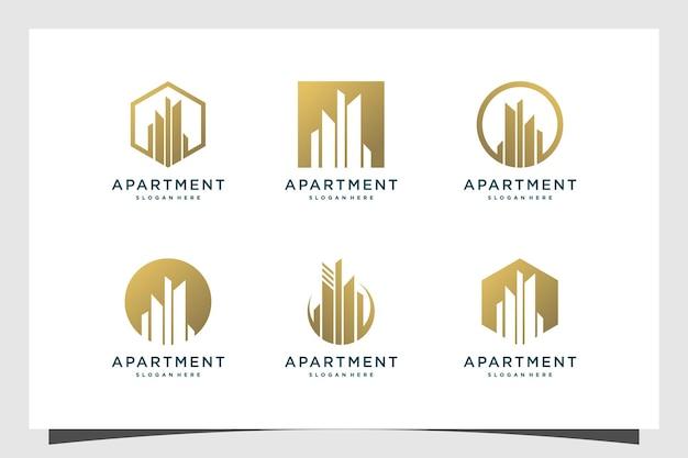 モダンなコンセプトのプレミアムベクトルと建物のロゴデザインのセット