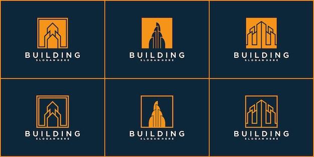 간단한 형태의 개념 로고가 있는 건물 로고 세트 premium vector