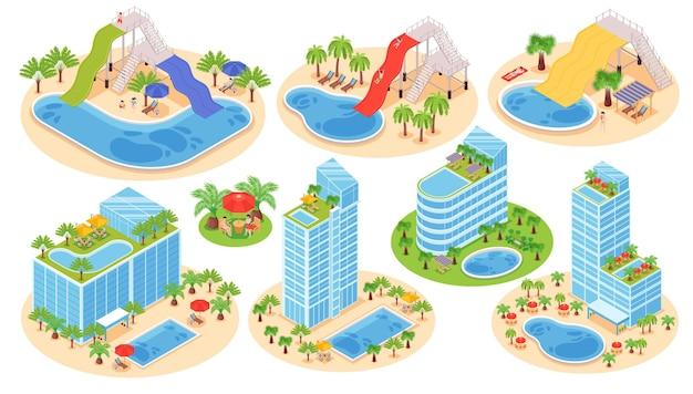 建物とプールのセット Premiumベクター