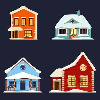 Набор экстерьера зданий в рождественский сезон