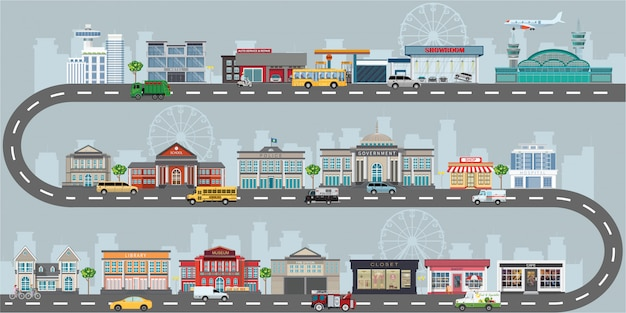 Набор зданий в стиле плоский дизайн малого бизнеса.