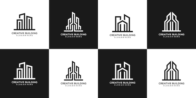 Набор дизайна логотипа недвижимости зданий