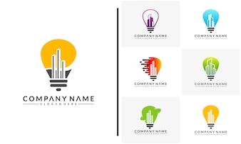 Set of Bulb city logo template