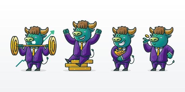 雄牛とコインのマスコットイラストのセット